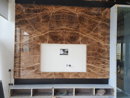 TV Feature Wall - Natural Stone - Cola Onyx