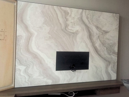TV Feature Wall - Natural Marble - Angel White Marble