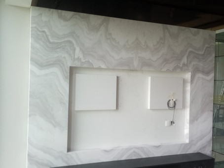 TV Feature Wall - Natural Marble - Angel White Polish Finished