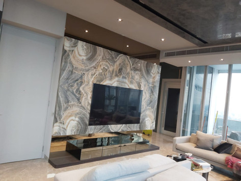 Onyx - TV Feature Wall - Royal Onyx Book Matched slabs.