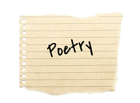 scrap paper with the word Poetry