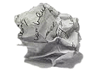 Crumpled up white piece of paper with writing on it