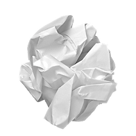 Crumpled up white piece of paper