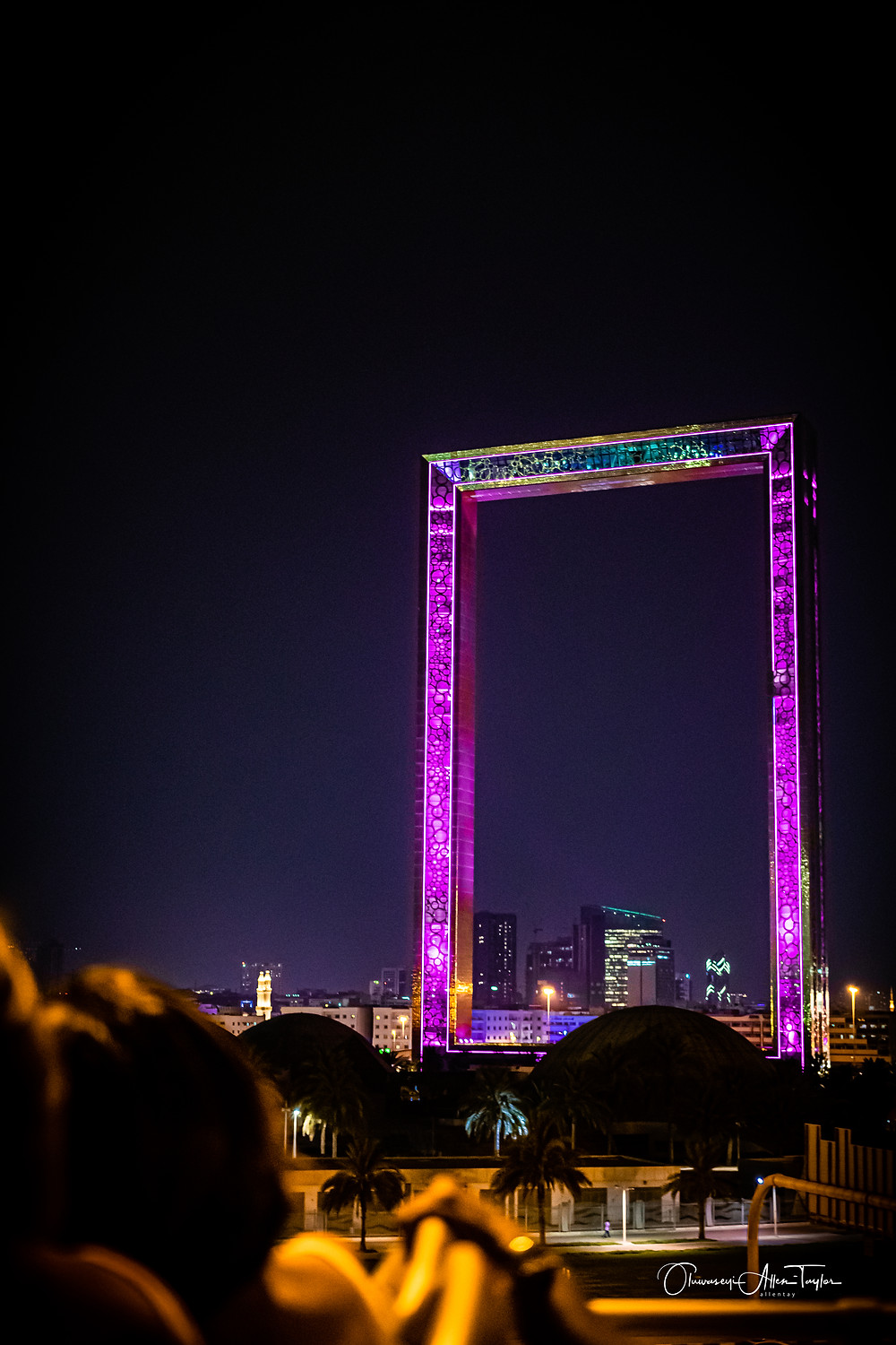 "he Dubai Frame. It is an architectural landmark in Zabeel Park, Dubai. It has been described by The Guardian newspaper as ""the biggest picture frame on the planet,""[4] however is also controversial as the ""biggest stolen building of all time.""[4]  The project was conceived by Fernando Donis,[4][5] and selected as the winner of a design competition by the Government of Dubai.[IIt holds the record for the largest frame in the world."