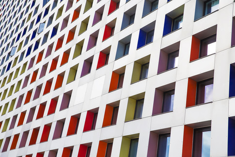 colored windows of the building. geometr