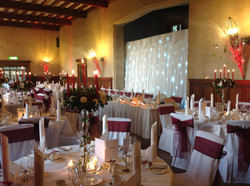 Fanhams Hall with top table back drop