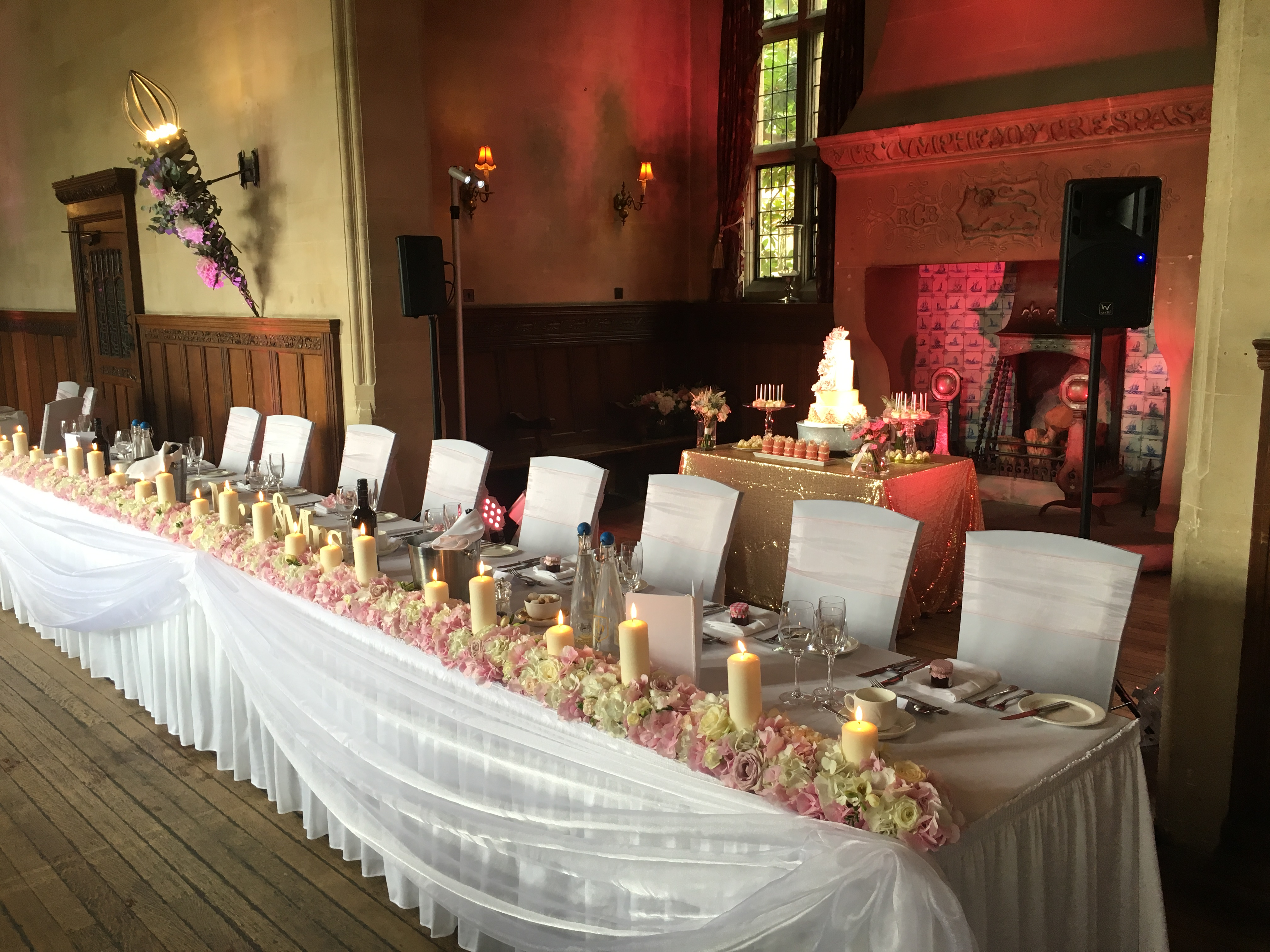 Top table lights in fire place pink