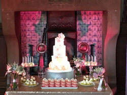 Cake in fire place