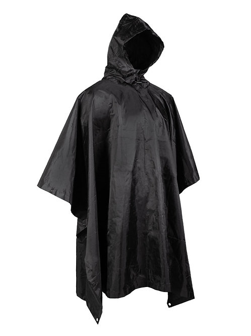 PONCHO BLACK RIPSTOP WET WEATHER