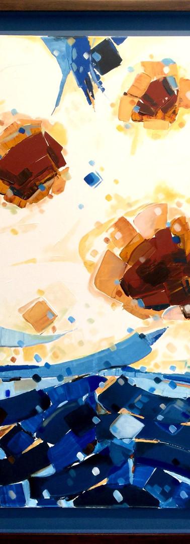 The horizon of cyan (1) 114X84 CM 2016 Inks & Acrylic colour on canvas