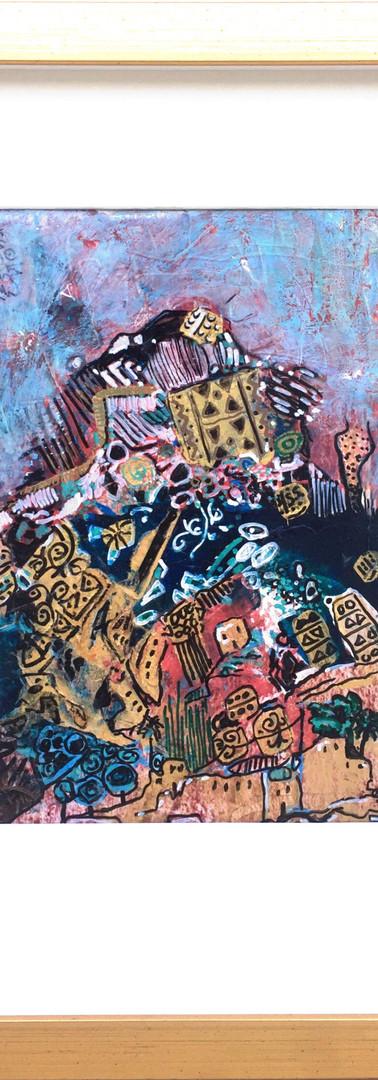 A village talk   44X34 CM 2017 Inks, Acrylic colour, acrylic medium gel on paper card