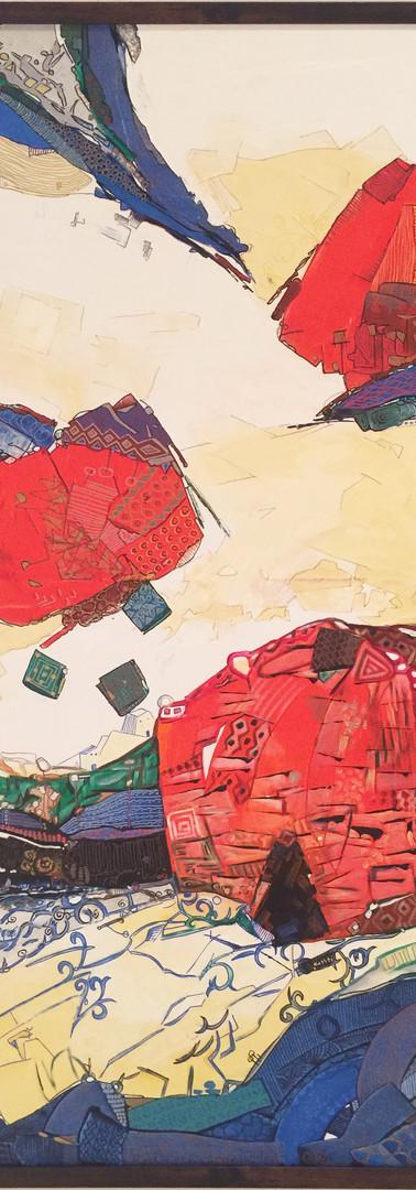 The earth talk (1), Inks & Acrylic colour on canvas, 139X109 CM, 2016