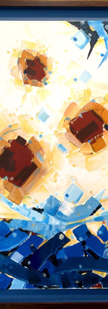 The horizon of cyan (2) 114X84 CM 2016 Inks & Acrylic colour on canvas 1200 USD