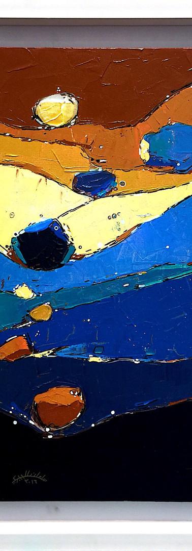 The deep of momary 70X 43 CM 2016 Inks & Acrylic colour on canvas