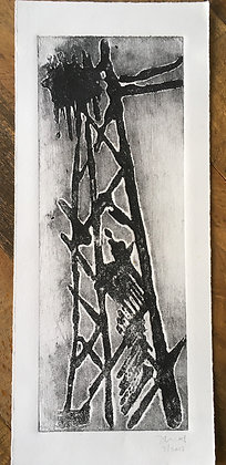 Oil Derrick Collagraph