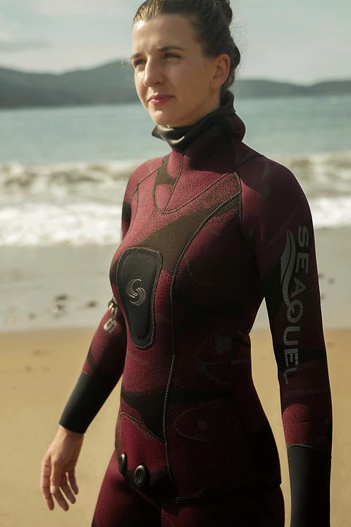 Women-Spearfishing-Freedive-Wetsuit-3mm-5mm-7mm-Yamamoto-38-Maroon-Camo-New-Zealand-Front