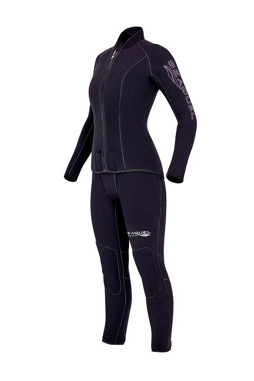 Womens-Dive-Wetsuit-5mm-7mm-Two-Piece-Yamamoto-45-Titanium-Neoprene-Custom-Wetsuit-Long-John-Jacket-Front