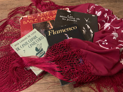 Some of Coco's hard-to-find flamenco books on one of her many mantones