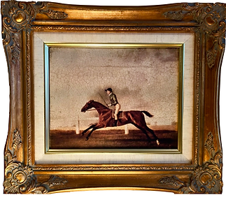 English Oil on Canvas of horse and rider circa 1890