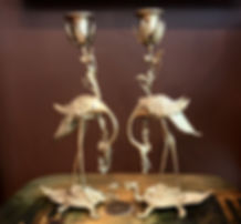 Gilded Bronze Crane Candle holdes