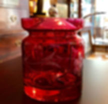 Etched Cranberry Glass and Sterling Jam Jar