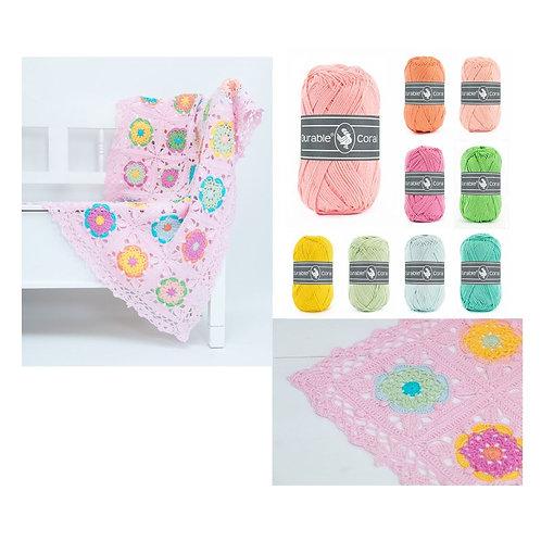 Haakpakket Coaster Square deken roze 100x150cm