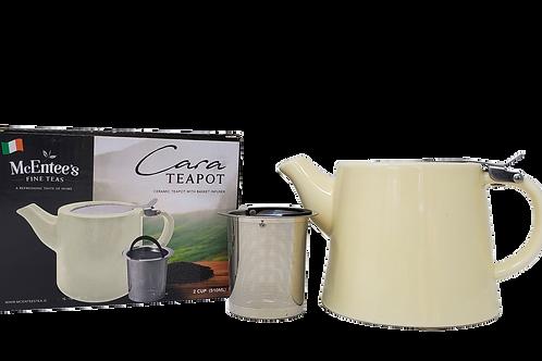 Cara Ceramic Cream McEntee's Tea Teapot Stainless Steel Lid 510ml (1-2 cup) with