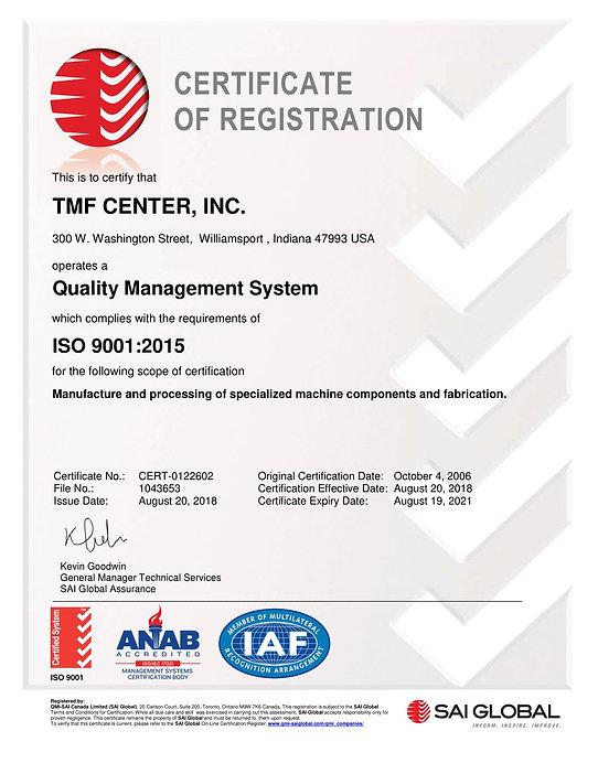 ISO 9001-2015 Certificate of Registratio