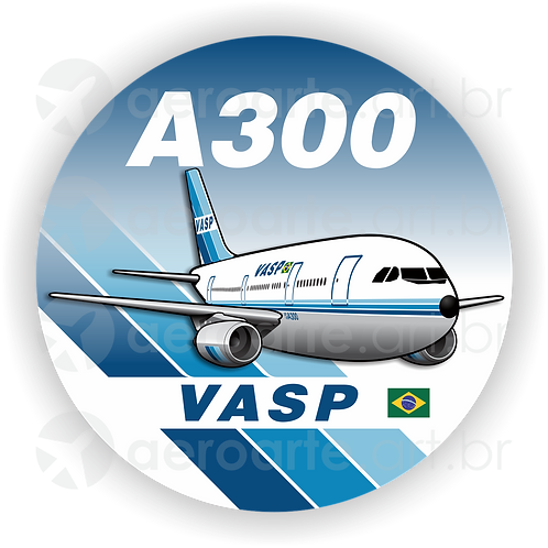 Adesivo Bolacha Airbus A300 VASP 1ª Pintura