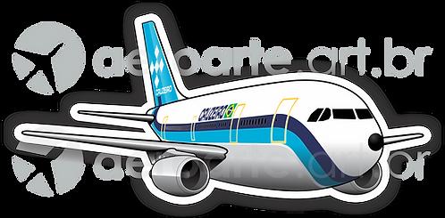 Adesivo Silhueta Airbus A300 CRUZEIRO