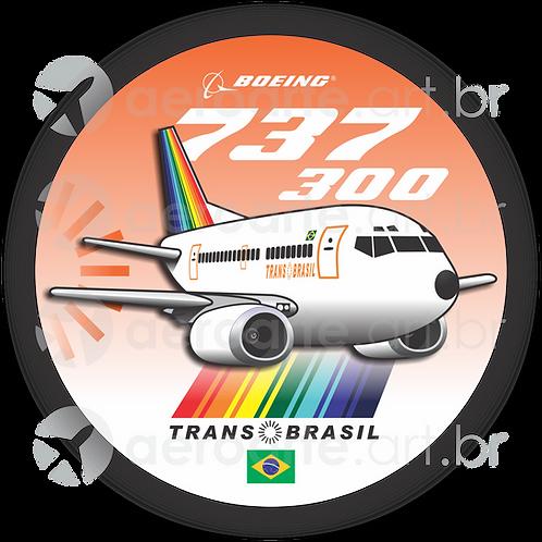 Adesivo Bolacha Boeing 737-300 Transbrasil 1ª Pintura