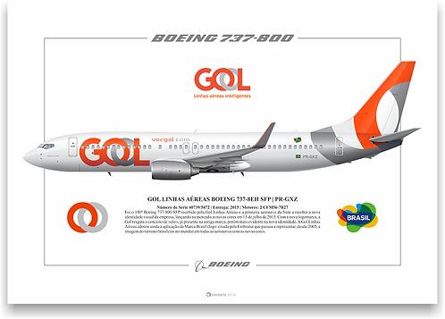Pôster Perfil Boeing 737-800 GOL