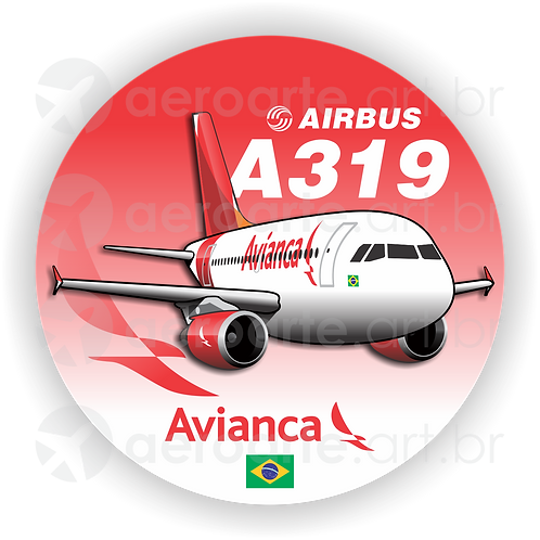 Adesivo Bolacha Airbus A319 CFM Avianca Brasil new colors