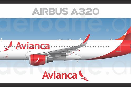 Adesivo Perfil Airbus A320 CFM Avianca Brasil 2ª Pintura