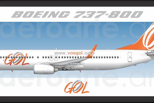Adesivo Perfil Boeing 737-800 GOL 1ª Pintura