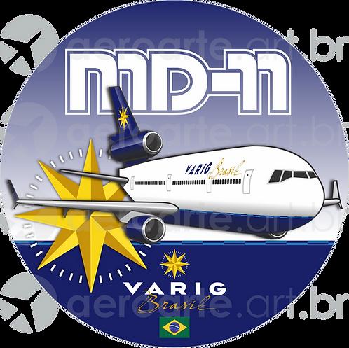 Adesivo Bolacha McDonnell Douglas MD-11 VARIG 2ª Pintura