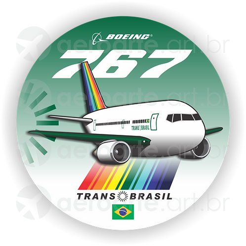 Adesivo Bolacha Boeing 767 Transbrasil Verde