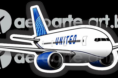 Adesivo Silhueta Boeing 777 United New colors