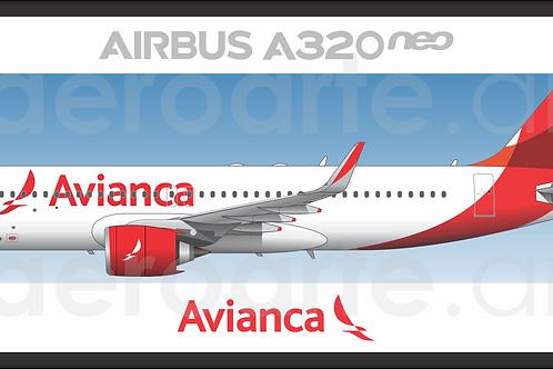 Adesivo Perfil Airbus A320 NEO Avianca Brasil