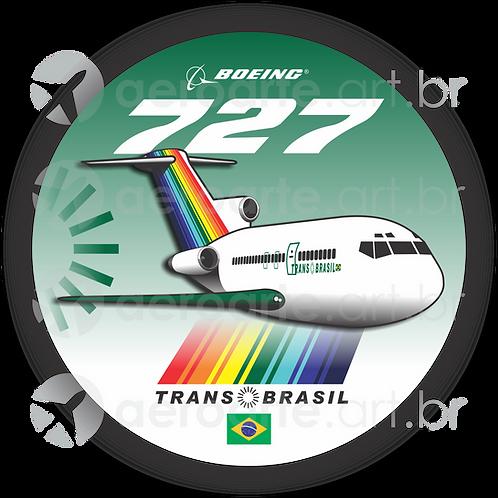 Adesivo Bolacha Boeing 727 Transbrasil Verde