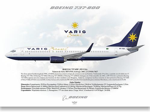 Pôster Perfil Boeing 737-800 VARIG