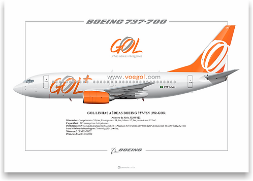 Pôster Perfil Boeing 737-700 GOL 2ª Pintura