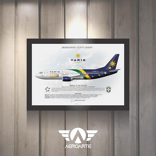 Pôster Perfil Boeing 737-300 VARIG seleção 98