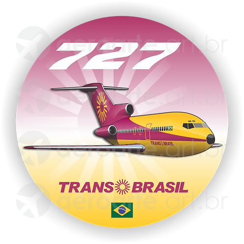 Adesivo Bolacha Boeing 727 Transbrasil Vinho / Amarelo