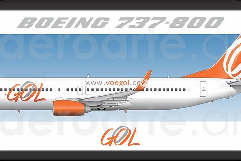 Adesivo Perfil Boeing 737-800 GOL 2ª Pintura