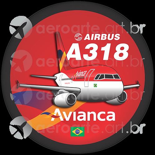 Adesivo Bolacha Airbus A318 Avianca Brasil