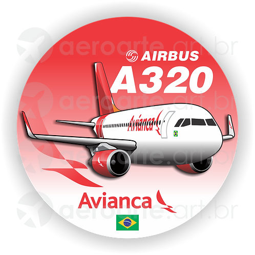 Adesivo Bolacha Airbus A320 CFM Avianca Brasil new colors