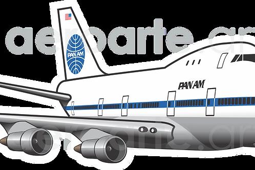 Adesivo Silhueta Boeing 747-100 PanAm