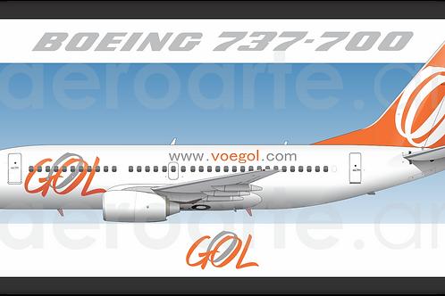 Adesivo Perfil Boeing 737-700 GOL 1ª Pintura