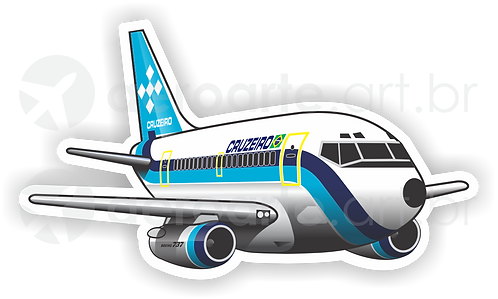 Adesivo Silhueta Boeing 737-200 Cruzeiro